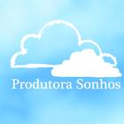 Logomarca   produtora sonhos branco fundo azul