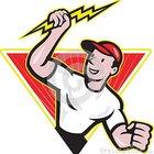 Desenhos animados do trabalhador da constru%c3%a7%c3%a3o do eletricista 27671681