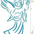Anjo estilizado no azul isolado 50623936